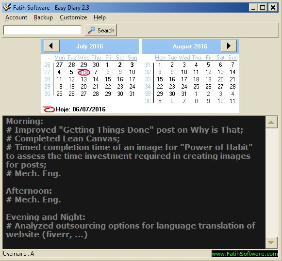 Easy Diary faith software