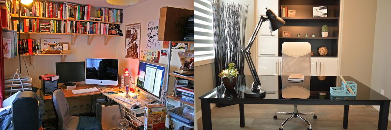 Side-by-side comparison between a cluttered, full of books and posters room (left) and a minimalist clean one (right). You decide which one would make the best learning environment.